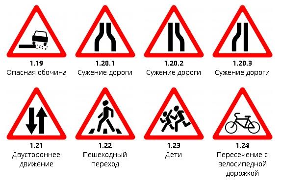 Предупреждающие знаки ПДД5